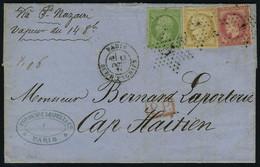 Lettre N° 20 + 32 + 59, Les 3 Valeurs Sur L Aff. Tricolore De 3 émissions Obl Etoile 1 Pour Cap Haitien Oct 71 Via St Na - Stamps