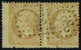 Oblitéré N° 21, Paire Hor, Pd Sur 1ex, + N° 23 Et 28B, Les 3 Avec Variétés De Piquage, T.B. - Stamps