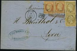 Lettre N° 21, + 23, 10c X 2 + 40c X 2, Affranchissement à 1f Obl Ancre + Càd Phase 28 Dec 64 Sur L Pour Lyon T.B. Signé  - Stamps