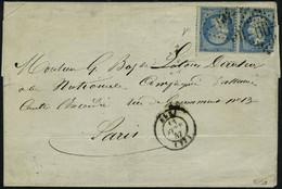 Lettre N° 22b, 20c + 20c Bleu Paire Tête Bêche Sur L Obl GC 55 Albi Pour Paris Signé Calves - Stamps
