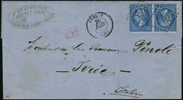 Lettre N° 22b, 20c + 20c, Paire Tête Bêche Sur L Obl Annecy 26 Juin 1865 Pour Ivrea Italie Arrivée Au Verso, Qq Dents Ma - Stamps