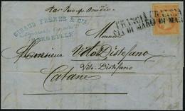 Lettre N° 23, 40c Orange Sur L Obl Linéaire Francia Via Di Mare, Aout 68 De Marseille Pour Catane, T.B. Signé Calves - Stamps