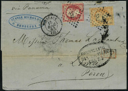 Lettre N° 23 + 24, 40c + 80c (def) Sur L à 1.20 Pour Le Pérou Via Panama Aout 64, Bon Aspect, Peu Commun - Stamps