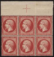 Neuf Sans Charnière N° 24c, 80c Rose Carminé, Bloc De 6, Haut De Feuille Avec Croix De Repère, Excellent Centrage, Fraic - Stamps