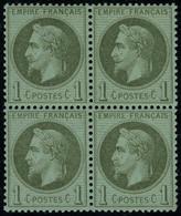 Neuf Sans Charnière N° 25, 1c Bronze, Bloc De 4, Superbe - Stamps