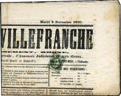 Lettre N°25. 1c Empire Lauré Seul Sur Journal Complet. Le Journal De Villefranche Du 8 Novembre 1870. Timbre T.B., Journ - Stamps