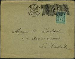 Lettre N° 75, 5c Vert Type II Sur L Càd Paris Départ 21 Janv 99, Flamme Drapeau RF Pour La Rochelle Avec Arrivée 22 Janv - Stamps