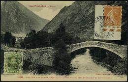 Lettre CP Affranchie    2c Andorre Espagnol + 25c Semeuse Obl Correus Andorra, T.B. - Stamps