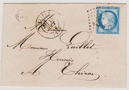 Cérès N° 60 A Position 23 G3 GC 1821 ILLIERS + OR Sur Lettre 2 Scans - 1871-1875 Cérès