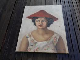 Peinture Tableau De Evelyne WAVRANT ? Portrait Du Femme En Robe Asie Chine Chinoise ? Coloniale Colonie Chapeau Chinois - Huiles