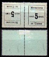 """Italia-F1883 - Occupazione Austriaca - Udine 1918: Sassone N. 1c (+) LH - """"Tete-beche"""" Firmati - Senza Difetti Occulti. - Udine"""