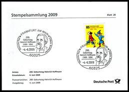 40355) BRD - FDC/Stempelkarte Michel 2739 - SoST Vom 04.06.2009 In 60325 FRANKFURT AM MAIN, Heinrich Hofmann - Marcofilie - EMA (Printmachine)
