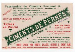 Buvard Ciments De Pernes: P. Carton & Cie, Ciment Portland, Fournisseur Du Genie Militaire, Bethune (18-79) - C