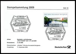 40359) BRD - Stempelkarte Michel 2359 - SoST Vom 04.07.2009 In 33184n ALTENBEKEN, Vivat Viadukt, Dampflok BR 052 - [7] West-Duitsland