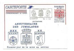 ENTIER INSTITUT PASTEUR REPIQUE JUMELAGES DE LA CIOTAT 1988 - Postal Stamped Stationery