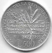 Italie - 500 Lire - 1988 - Argent - 1946-… : Republiek