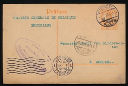 S.G.B. BRUXELLES     - DUITSE CONTROLE STEMPEL 1916 - NAAR ASSE -  ZIE 2 AFBEELDINGEN - Asse