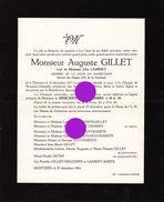 MONTZEN 1964 Auguste Gillet Veuf Lambiet  Imprimé à Thimister - Announcements
