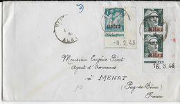 ALGERIE - 1947 - GANDON + IRIS COIN DATE Sur LETTRE De VIALAR => MENAT - Algérie (1924-1962)