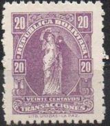 Bolivia 1937-68 **. H&A #70. Perf. 10.5 Bs0,20 Purpura. Transacciones  See Desc. - Bolivia