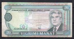 527-Turkmenistan Billet De 20 Manat 1993 AD283 - Turkménistan