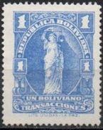 Bolivia 1937-68 **. H&A #85. Perf. 14 Bs1,00 Ultramar. Transacciones  See Desc. - Bolivia