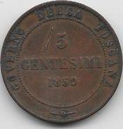 Italie - Toscane - 5 Centesimi - 1859 - Regional Coins