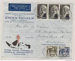 Nederlands Indië - 1934 - 3x Emmazegel Op Special Cover SCVT, Tuberculose Bestrijding, Van Batavia Naar Amsterdam / NL - Nederlands-Indië