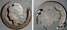 Rare Monnaie Argentine Découpée Et Montée En Broche, Républica Argentina Centavos 189? - Argentina