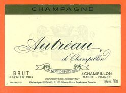 Etiquette De Champagne Brut Premier Cru Autreau à Champillon - 75 Cl - Champagne