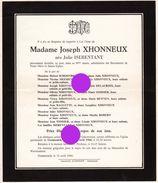 GEMMENICH Mme JOSEPH XHONNEUX Née Julie ISERENTANT 1966 - Announcements