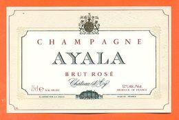 Etiquette De Champagne Brut Rosé Ayala à Chateau D'ay - 75 Cl - Champagner