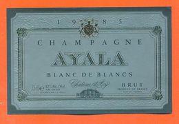 Etiquette De Champagne Brut Blanc De Blancs 1985 Ayala à Chateau D'ay - 75 Cl - Champagner