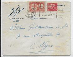 1937 - RARE MIXTE TYPE PAIX / ALGERIE Sur LETTRE Par AVION De ALGER GARE Avec MECA => ALGER - Algérie (1924-1962)