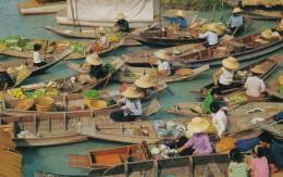 Bangkok Thailand, Floating Market Wat Sai, C1960s/70 Vintage Postcard - Thailand