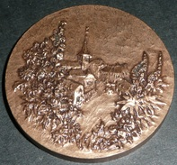 Rare Médaille En Bronze, Par ANNETTE LANDRY, Village De France - Other