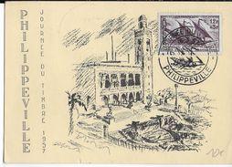1957 - ALGERIE - CARTE POSTALE JOURNEE DU TIMBRE De PHILIPPEVILLE - Algérie (1924-1962)