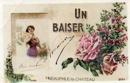 """78 NEAUPHLE LE CHATEAU """"UN BAISER"""" Femme Fleurs Roses Cpa Brillante - Neauphle Le Chateau"""