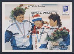 """Antigua & Barbuda 1993 B 264 (=Mi 1849) ** Yvonne Van Gennip + Karin Kania + Andrea Ehrig - Results Calgary """"88 - Winter 1994: Lillehammer"""