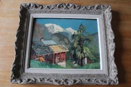 Tableau Huile Sur  Bois Montagne  Chalet Servoz Les Houches  Signé 1936 - Oils