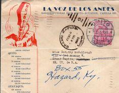 """LETTRE 1949 - EN TETE : """"LA VOIX DES ANDES"""" - CACHET POSTAL ARRIVEE GRAND RAPIDS (USA) - - Ecuador"""