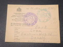 VATICAN - Formulaire De Renseignements Pour Prisonniers De Guerre à Dantzig En 1915 Avec Contrôle Postal  -  L 11538 - ...-1929 Vorphilatelie