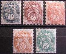 Lot FD/5 - 1900 - TYPE BLANC - N°107 à 111 NEUFS** - 1900-29 Blanc