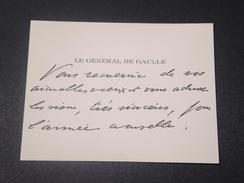 FRANCE - Carte De Visite Du Général De Gaulle + Env -  L 11543 - Tarjetas De Visita