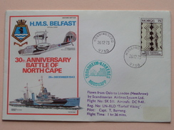 """30th Anniversary BATTLE Of NORTH CAPE """" H.M.S. BELFAST """" : Stamp Honningsvag > 1973 ( Zie Foto ) ! - FDC"""