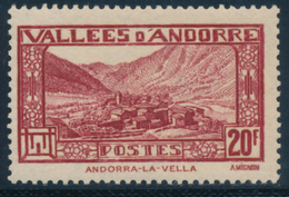 ANDORRA 1932-33 LA VELLA 20F - Yvert 45**MNH - Andorre Français