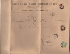 Lettre Recommandée Cachet BEZIERS Chargements Hérault 1899 Cie Wagons Réservoirs Du Midi Pour Cette - Cachet Cire - 1877-1920: Période Semi Moderne