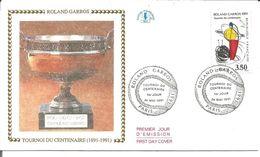 Roland Garros Tournoi Du Centenaire 1991 Avec Fiche Explicative - 1990-1999