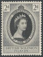 British Solomon Islands. 1953 QEII Coronation. 2d MH. SG 81 - British Solomon Islands (...-1978)