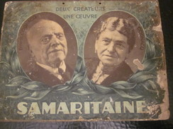 Publicité Originale RV Affichette Effigies 2 Créateurs & Magasin SAMARITAINE En 1889 Sur Support Plaque Carton D'époque - Advertising (Porcelain) Signs